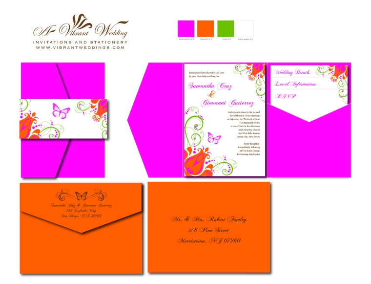 Pink and Orange Wedding Invitation Pocketfold Style