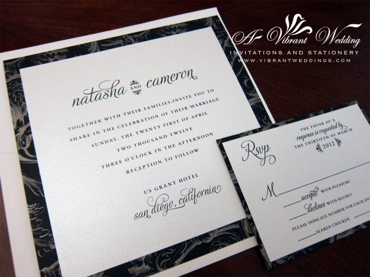 Black and White Wedding Invitation Modern Design