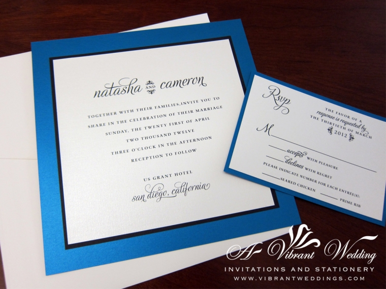 Electric Blue & Black Wedding Invitation - Modern Contemporary Design
