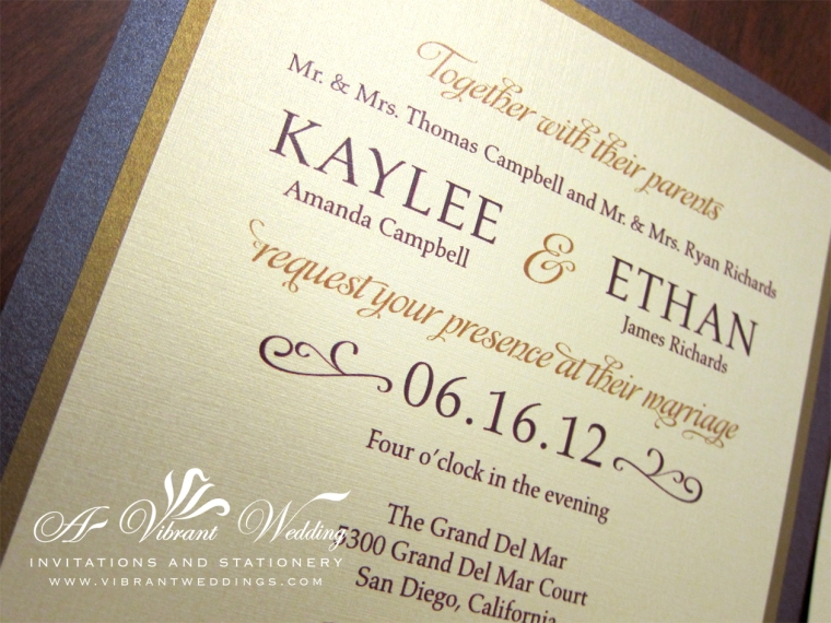 Ruby Purple & Gold Wedding Invitation – Modern Contemporary Design