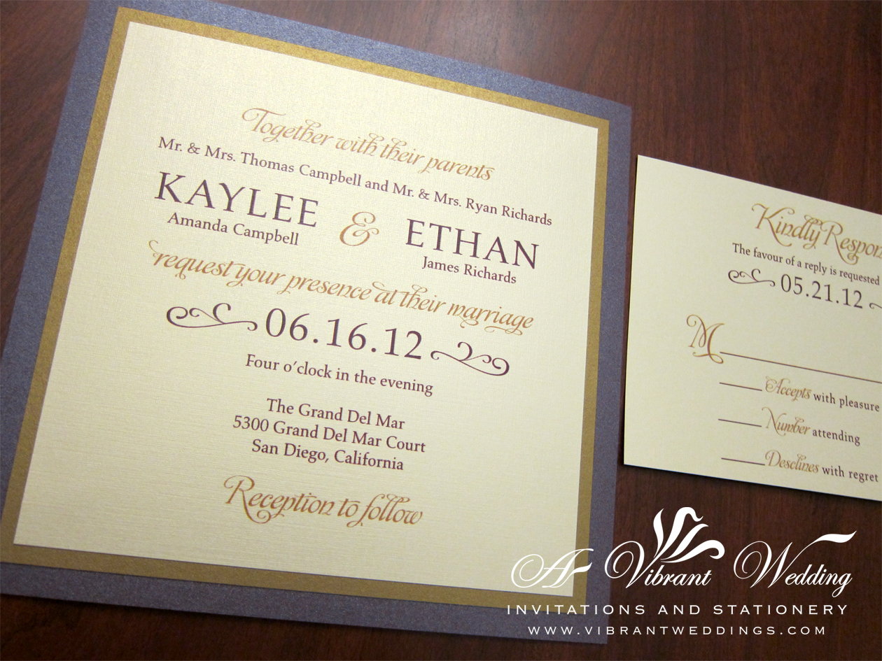 purple and gold wedding invitation purple and gold wedding Ruby Purple Gold Wedding Invitation Modern Design