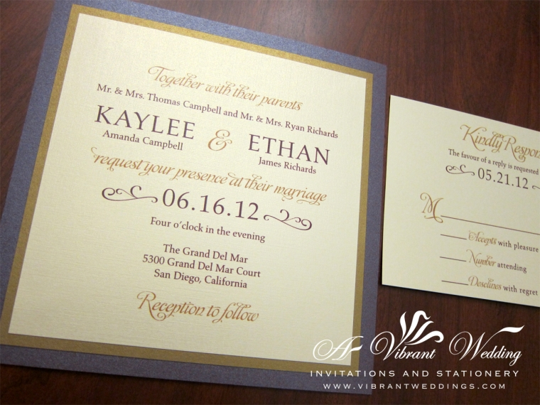 Ruby Purple & Gold Wedding Invitation - Modern Design