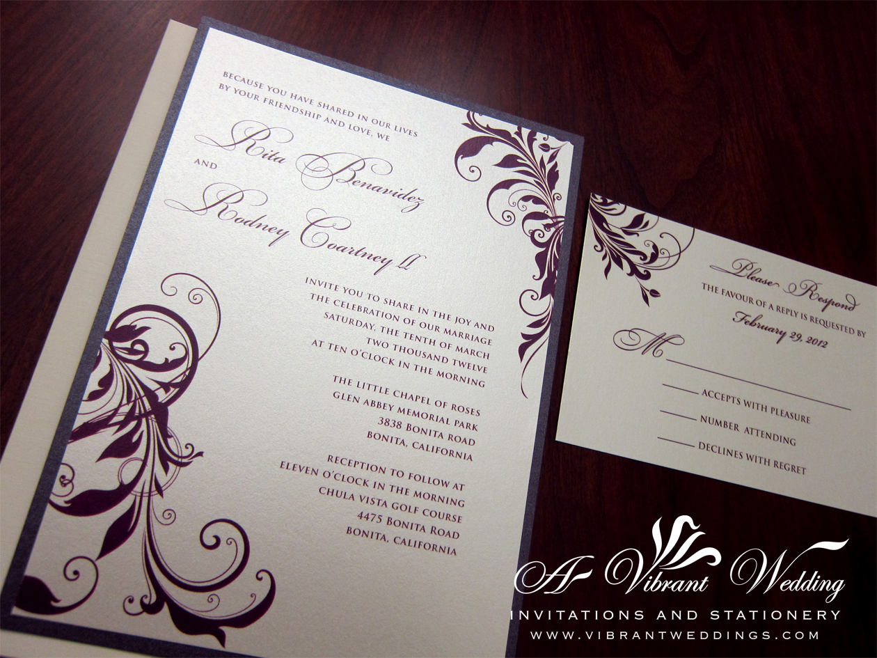 Purple and Ivory wedding invitation – A Vibrant Wedding
