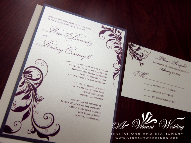 "Eggplant Purple Wedding Invitation, 5x7"" Flat, Double-layered"