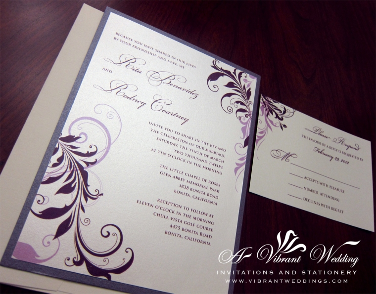 Eggplant Purple & Lavender Wedding Invitation - Floral Scroll Design
