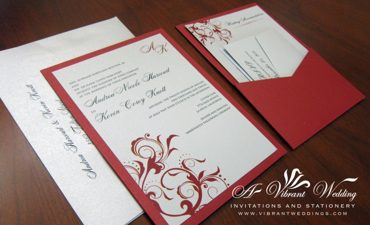 Red & Platinum Wedding Invitation - Pocket Card Style