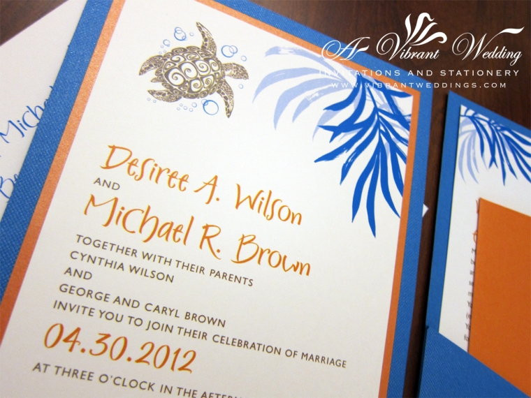 Blue and Orange Wedding Invitation with Sea Turtle Design