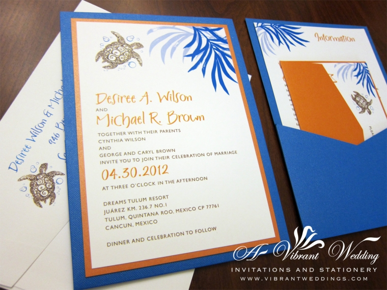 Blue and Orange Wedding Invitation with Sea Turtle