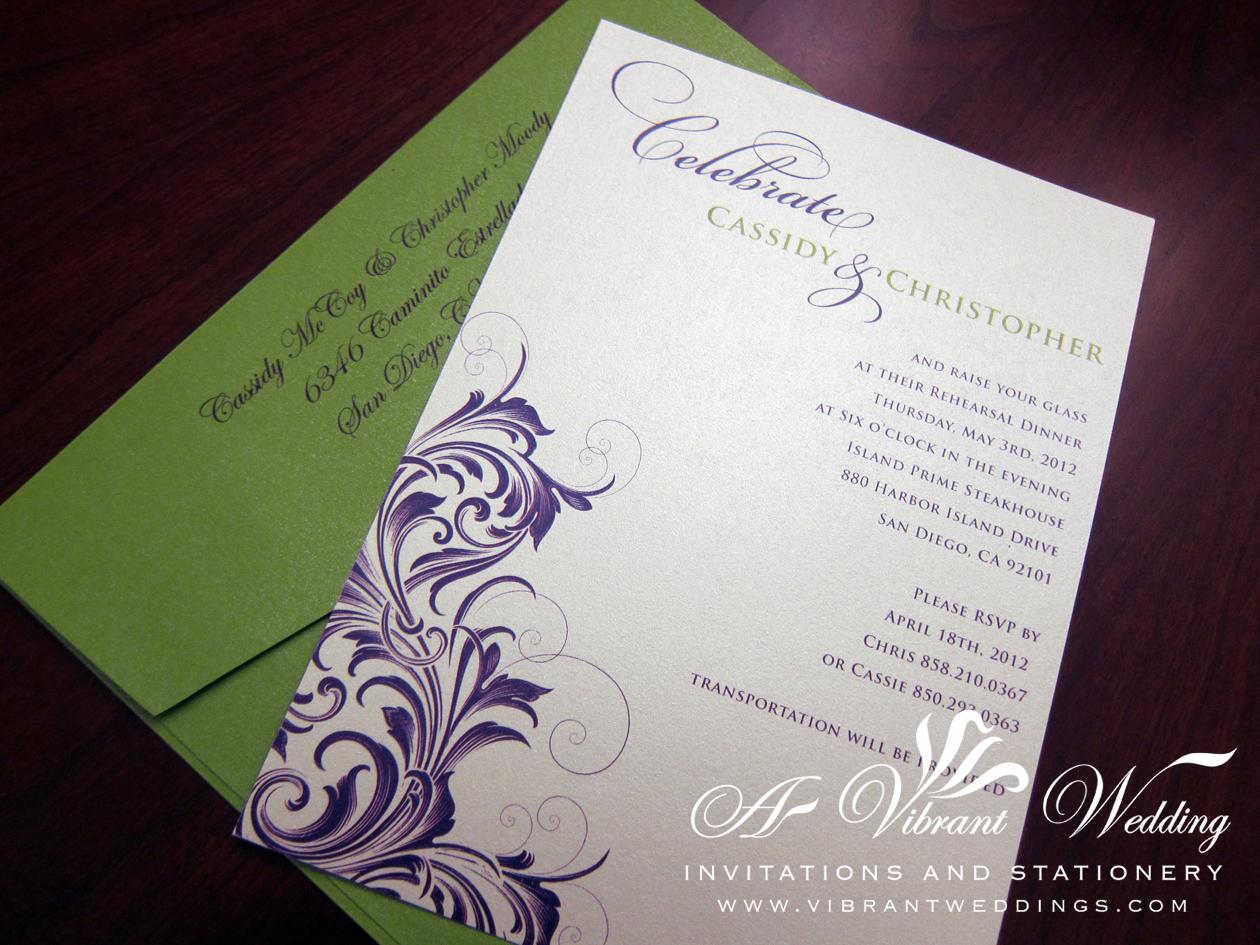 purple and green wedding invitation – A Vibrant Wedding