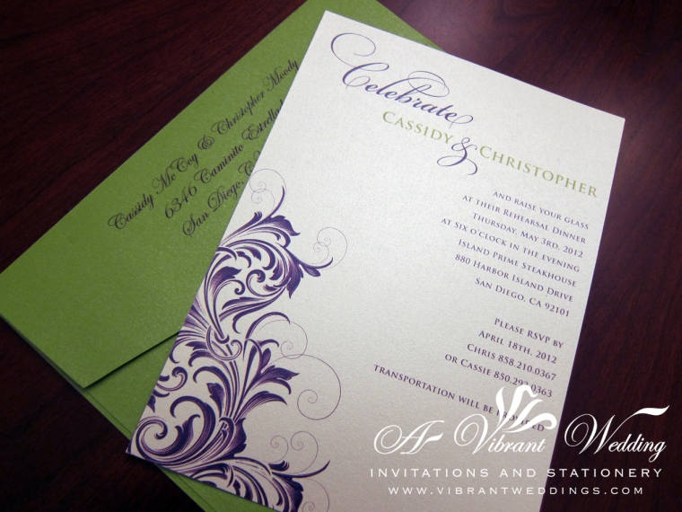Green and Purple Wedding or Rehearsal Dinner Invitation with Victorian Scroll Design