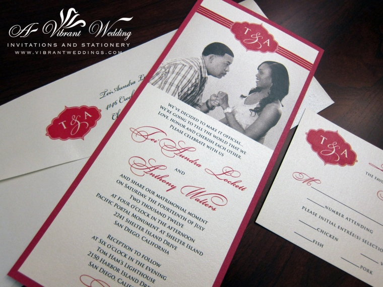 "Red and Ivory Photo Wedding Invitation, 4x9"" Double layered"