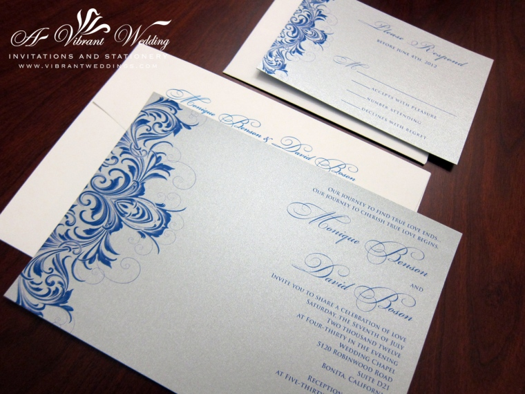"Silver and Blue Wedding Invitation with Victorian Scroll Design, 5x7"" Flat"