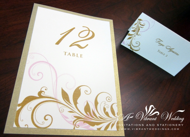 Table Numbers & Escort Cards Vintage Scroll Pink & Champagne