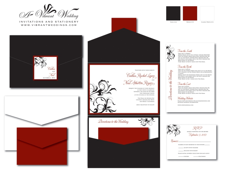 Black & Red Wedding Invitation - Pocketfold Style w Spanish Floral Scroll