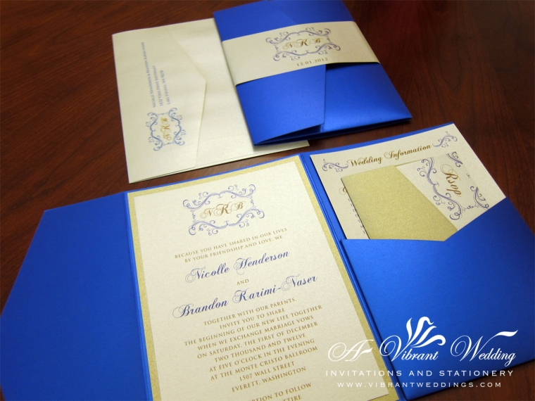 Blue and Champagne Wedding Invitation w Bellyband