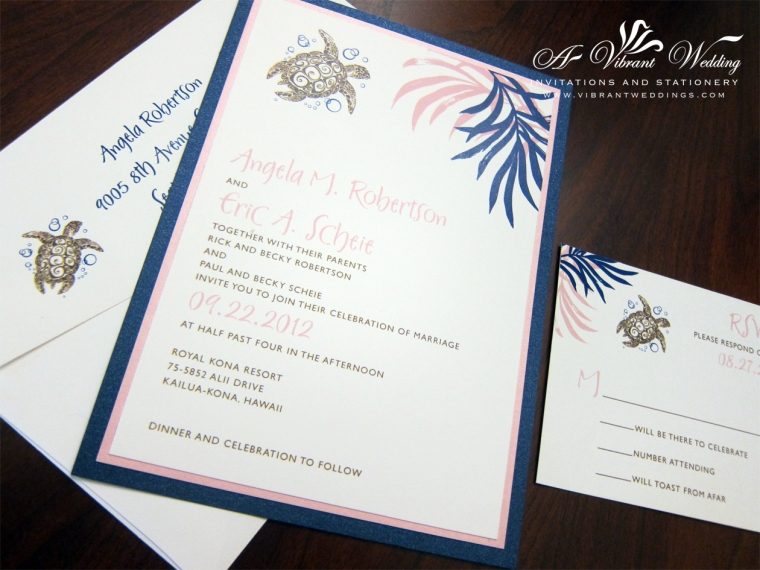 Navy Blue and Blush Pink Wedding Invitation with Sea Turtle Design