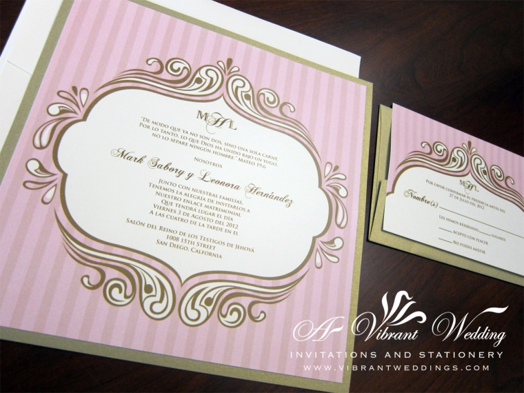 Vintage Pink and Champagne Wedding Invitation with Victorian Frame