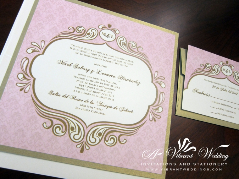 "7x7"" Blush Pink And Champagne Wedding Invitation With Victorian Frame. Double layered."