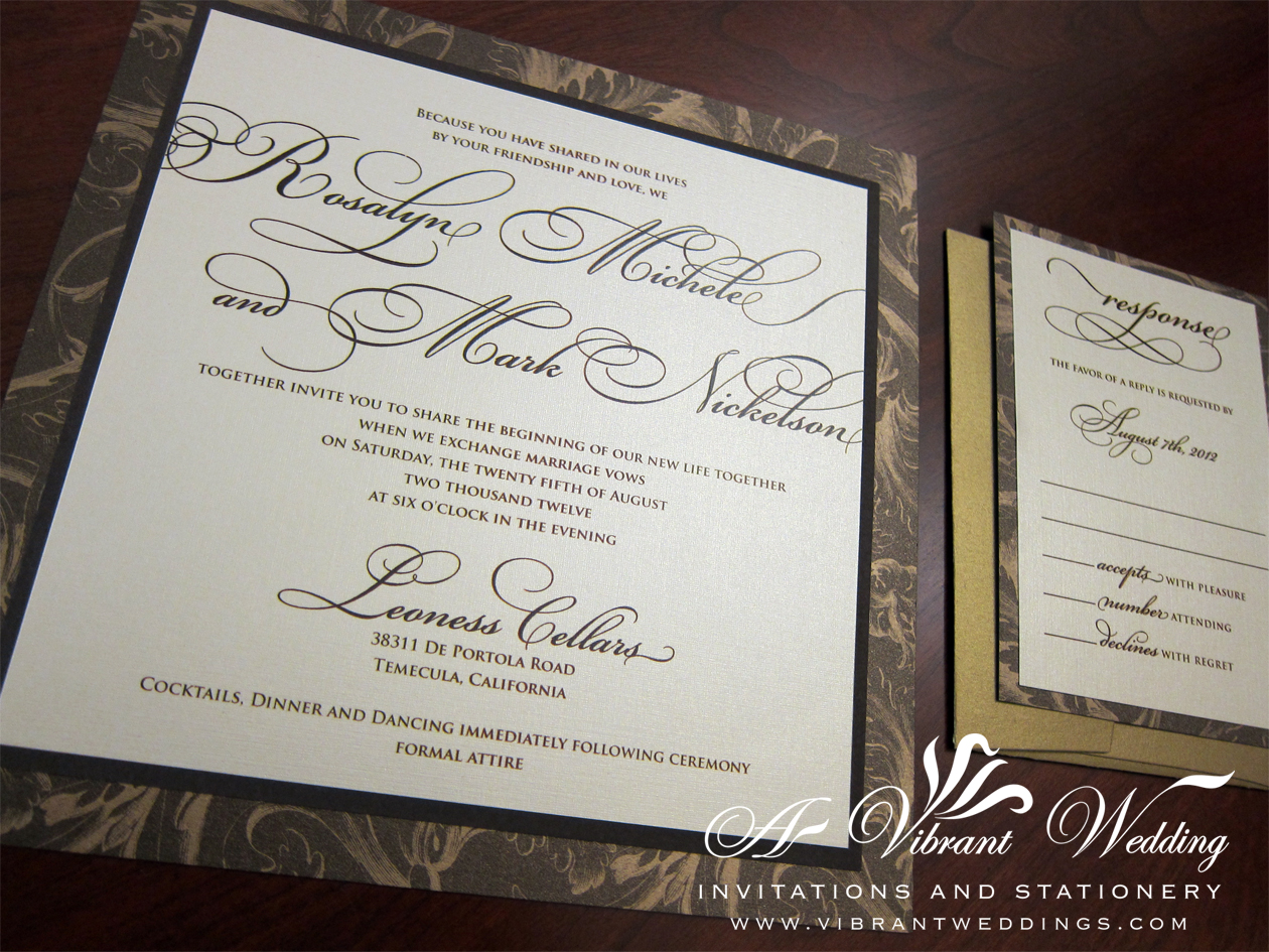 Brown and gold wedding invitation A Vibrant Wedding – Brown and Gold Wedding Invitations