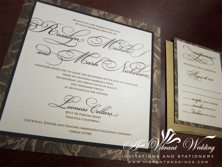 "Brown and Antique Gold Elegant Scripted Wedding invitation - 7x7"" Triple-layered"