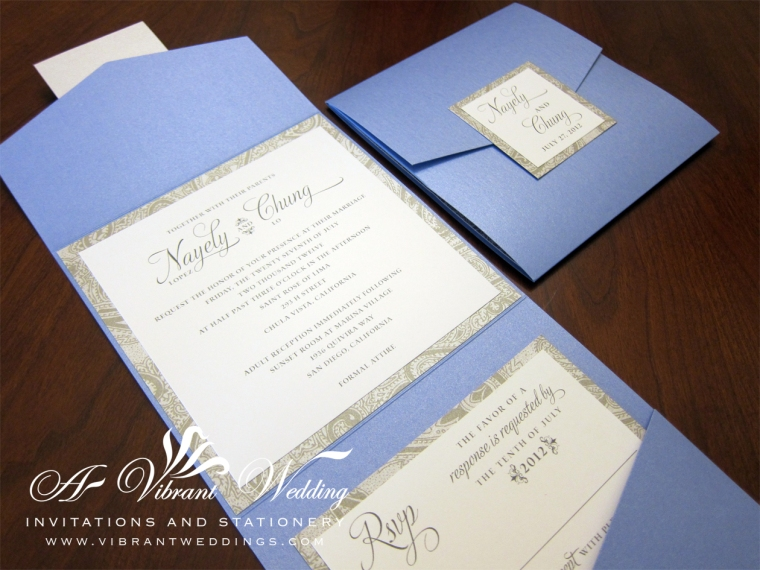 Cornflower Blue and Silver Wedding Invitation