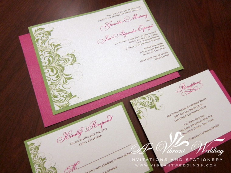 Green and Pink Wedding Invitation - Victorian Scroll Design