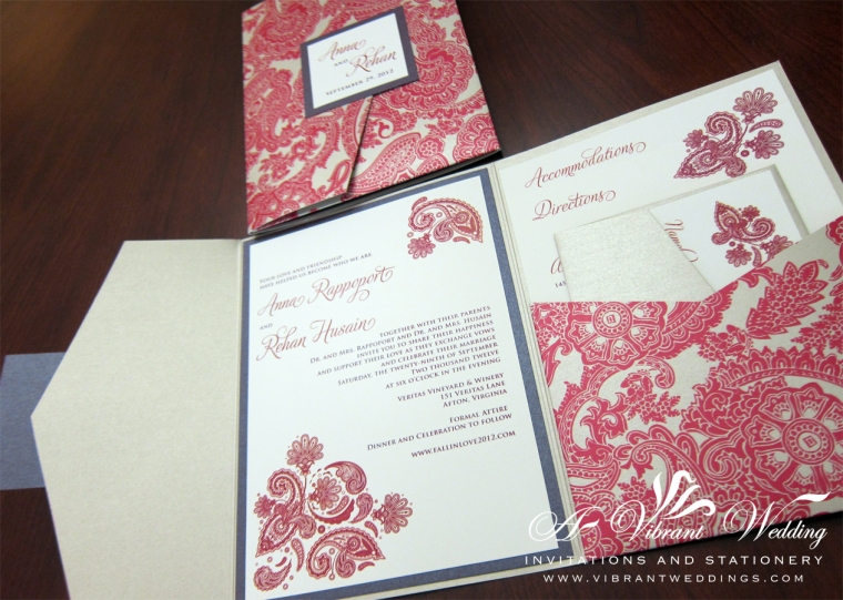 "Red Paisley and Ruby Purple Wedding Invitation - 5x7"" Pocket-fold Style"
