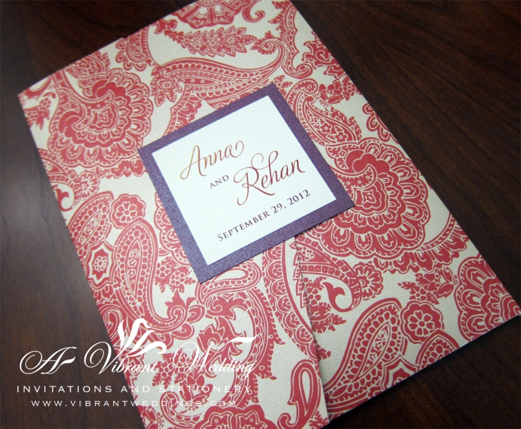 Red Paisley and Ruby Purple Wedding Invitation - Pocketfold Style