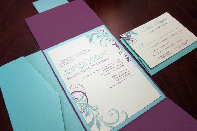 Purple & Tiffany Blue Birthday Invitation - Gate Fold Style