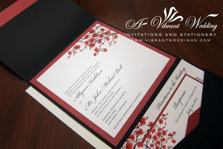 "Black & Red Cherry Blossom Design Wedding Invitation - 7x7"" Pocketfold Style"