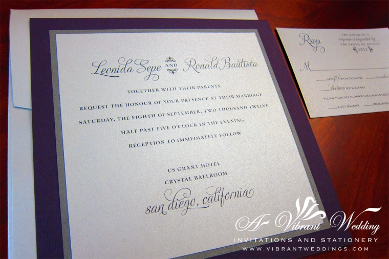 "Purple & Silver Modern Wedding Invitation - 7x7"" Triple-layered flat style invitation."