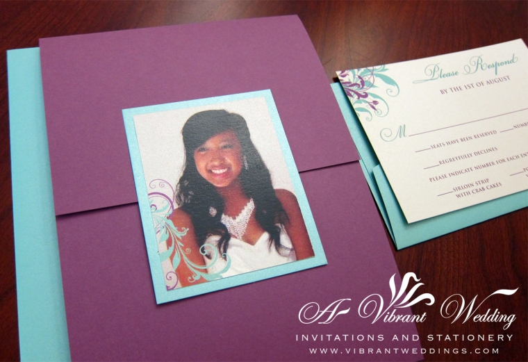 Purple & Tiffany Blue Birthday Invitation
