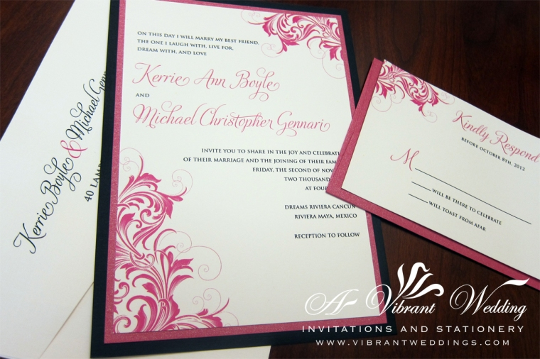 "Black & Pink Victorian Scroll Wedding Invitation. 5x7"" Flat, Double-Mounted"