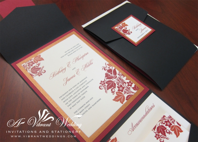 Fall Wedding Invitation - Black Pocketfold with Red & Orange Fall Design