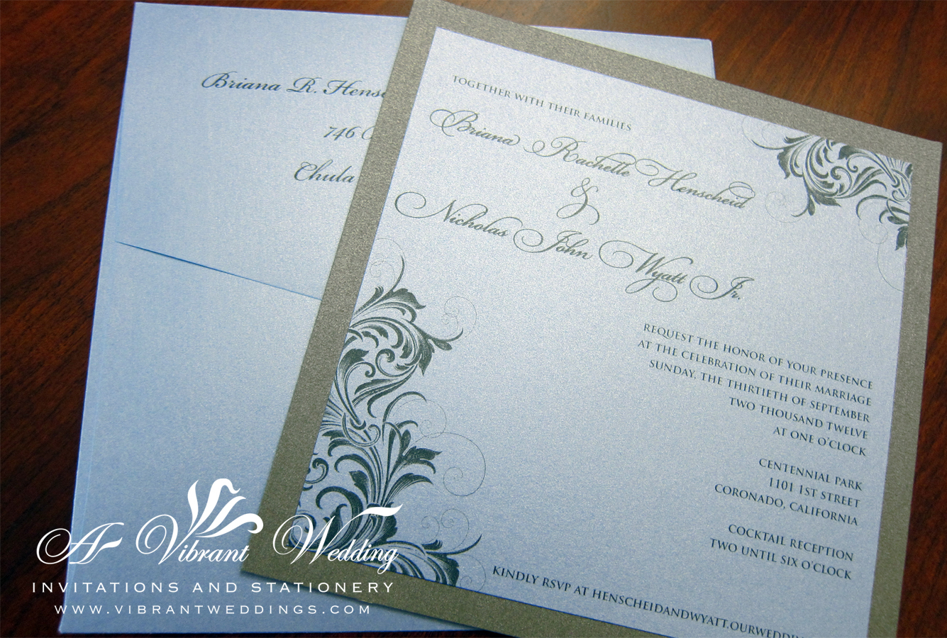 Slate Blue Wedding Invitation – A Vibrant Wedding