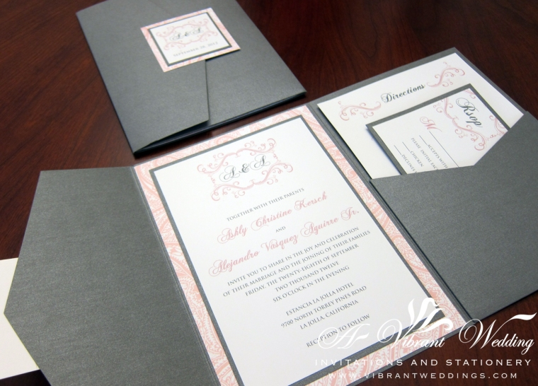 Charcoal Grey & Pink Wedding Invitation - Pocketfold with Vintage Pink Paisley Design