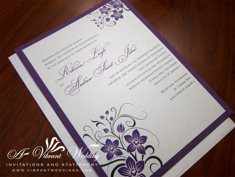 "Royal Purple and Platinum Wedding Invitation with Orchid Design. 5x7"" Double-mounted."