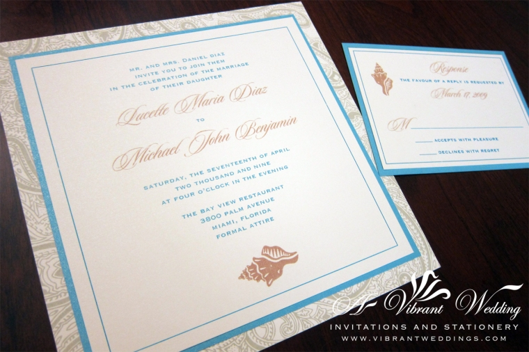"Sea Shell Wedding Invitation - 7x7"" Flat Style"