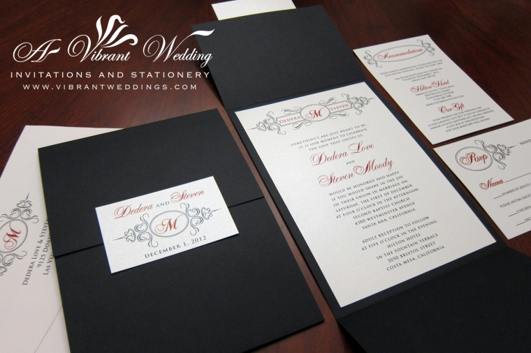 "Black and Red Wedding Invitation - Monogram Design, 5x7"" Gatefold style"
