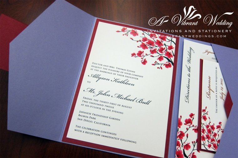 Wedding Invitation Lavender & Red with Cherry Blossom Design