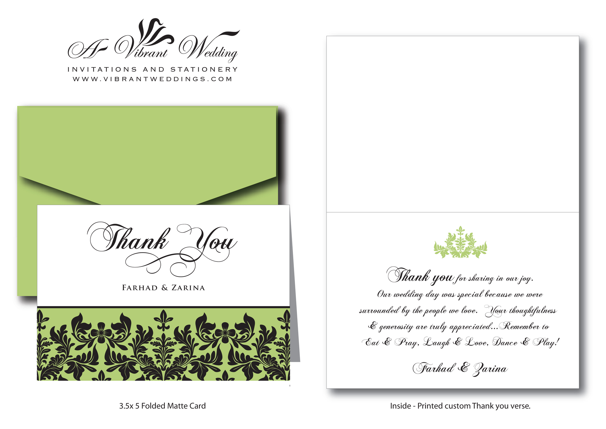 Thank You Card Damask