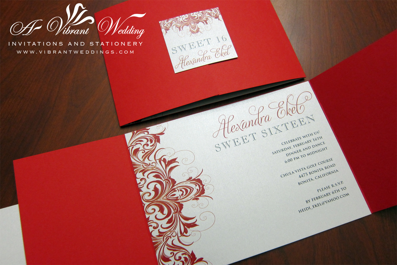 Red and Silver Sweet 16 Birthday Invitations – Gate-fold Style ...