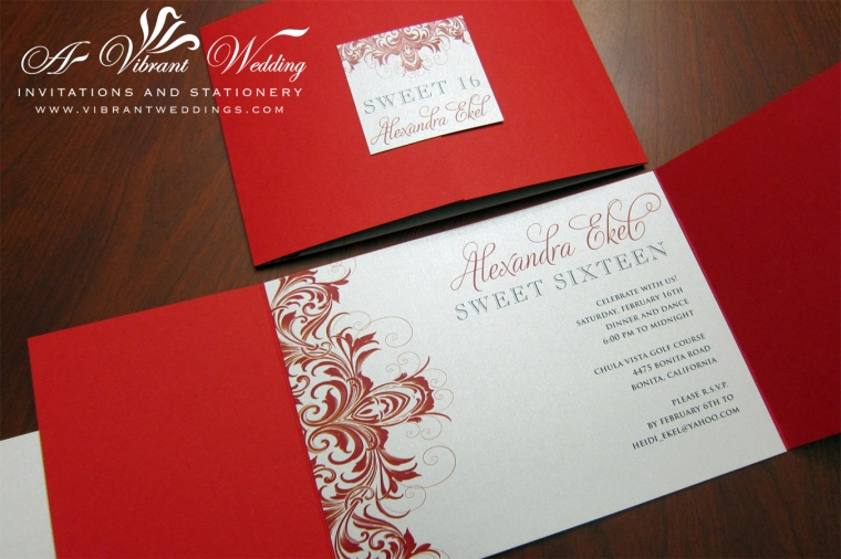 """Red and Silver Sweet 16 Birthday Invitations. 5x7"""" Gatefold Style"""