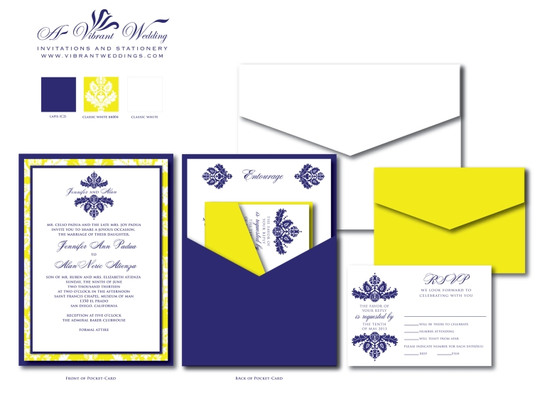 "5x7"" Blue and Yellow invitation with Brocade Design.PocketCard Style."
