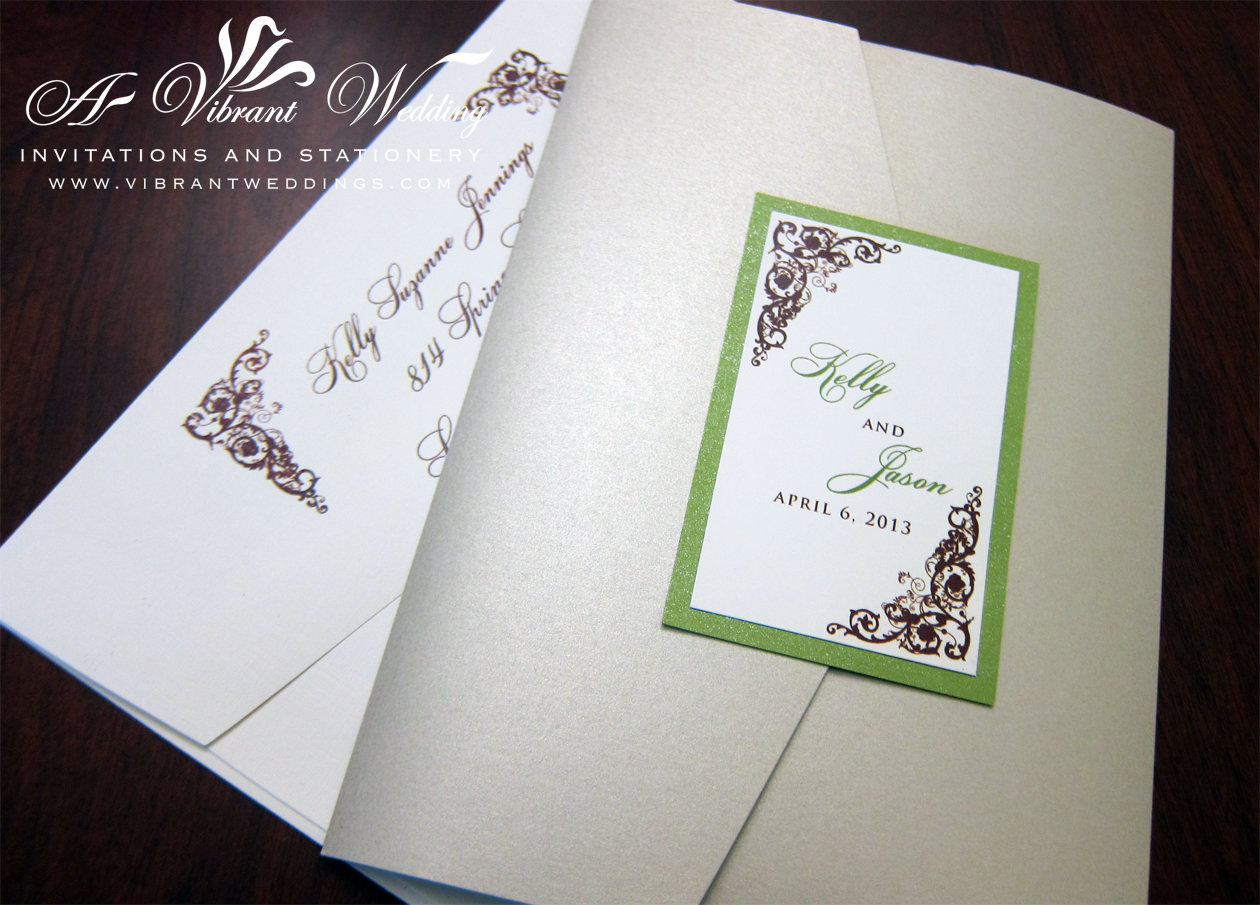 Photo Pocket Wedding Invitations: Wed_ChapgnGrn&Brwn_RusticScroll2_Blog