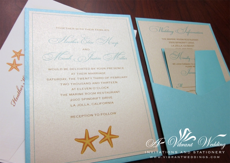 "Starfish Wedding Invitation, 5x7"" PocketCard Style. Pocket is on the backside of the invitation."