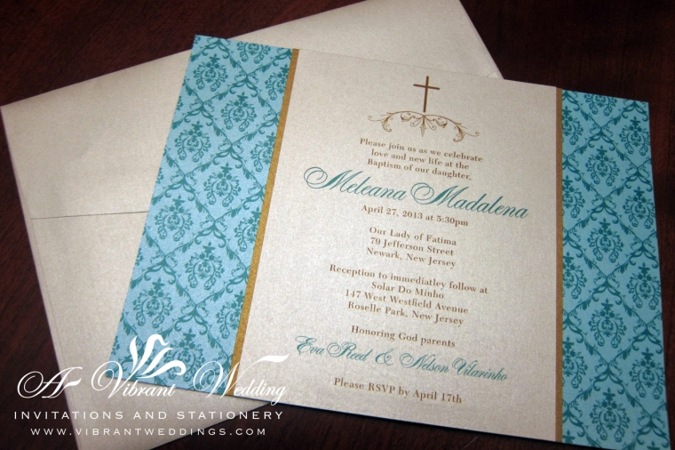 "Custom Baptism Invitations. Turquoise, Champagne and Gold with Brocade design. 5x7"" Triple-layered."