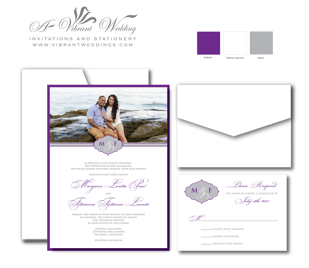 Most Expensive Wedding Invitations: Purple And Gray Wedding Invitation