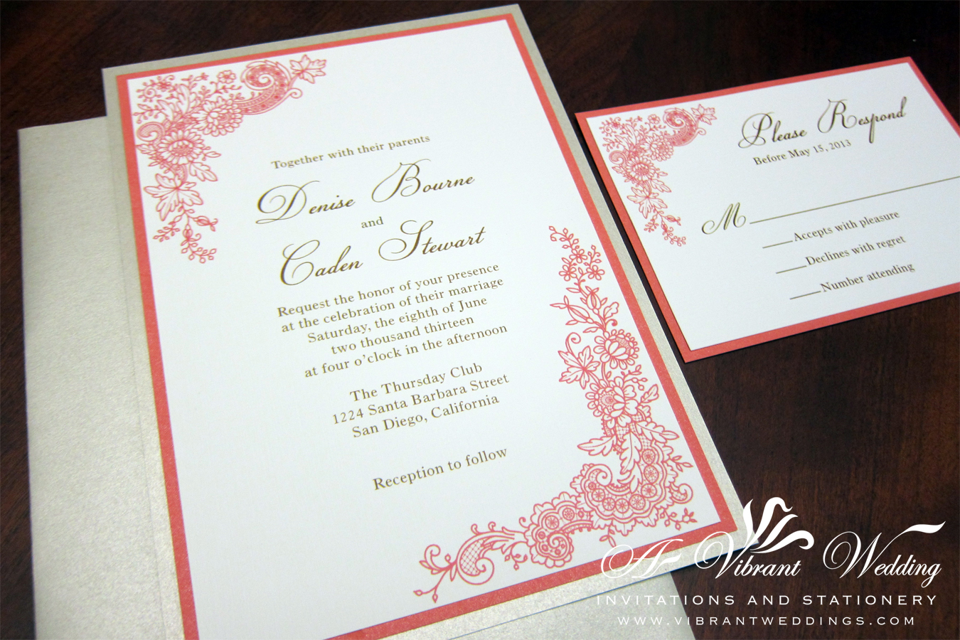 5x7 coral and champagne triple layered wedding invitation with floral lace design - Layered Wedding Invitations