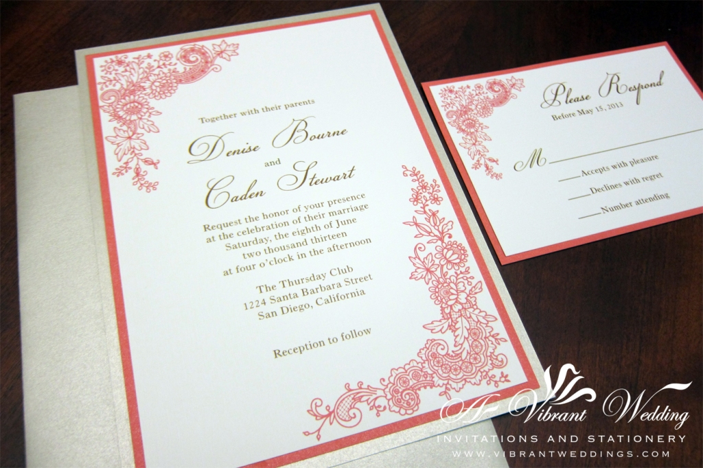 "5x7"" Coral and Champagne Triple-layered wedding invitation with Floral Lace Design."